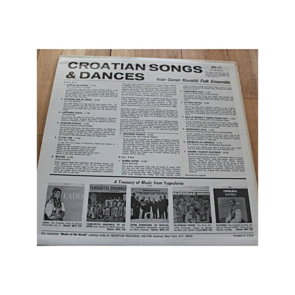 Croatian songs and dances by Ivan Goran Kovacic Ensemble, LP with bdzik43