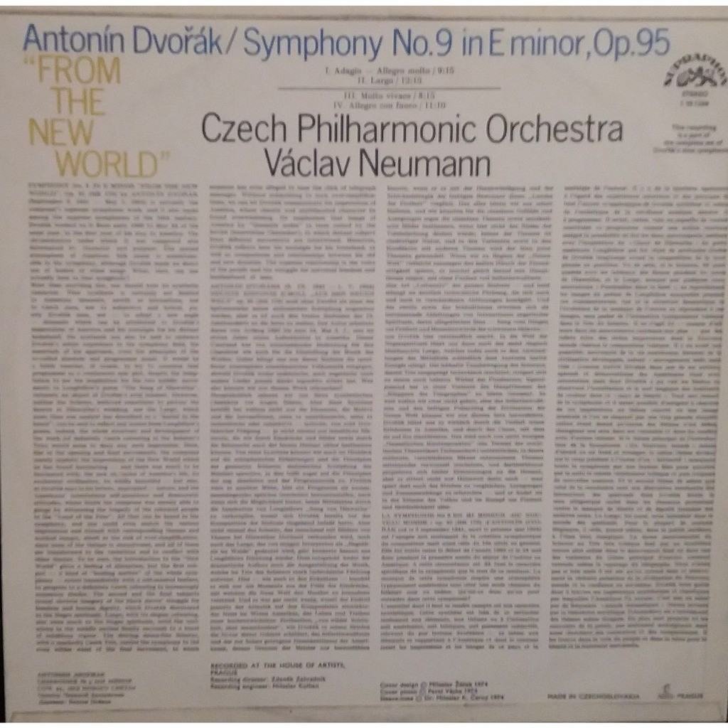 """VACLAV NEUMANN conductor conducts DVORAK- Symphony No. 9 in E Minor Op. 95 """"From the New World""""."""