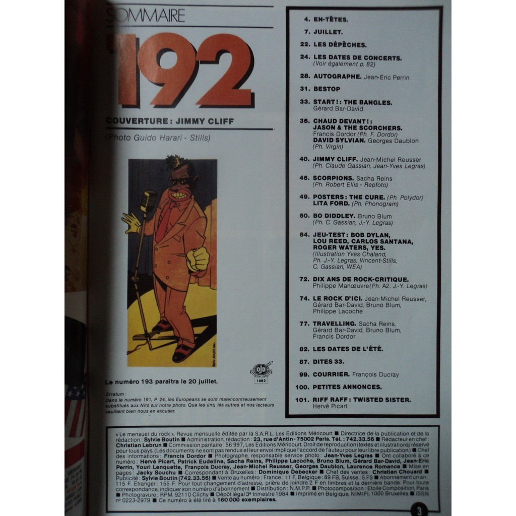 best magazine 192 best magazine 192 (poster cure toujours agrafé) jimmy cliff couverture