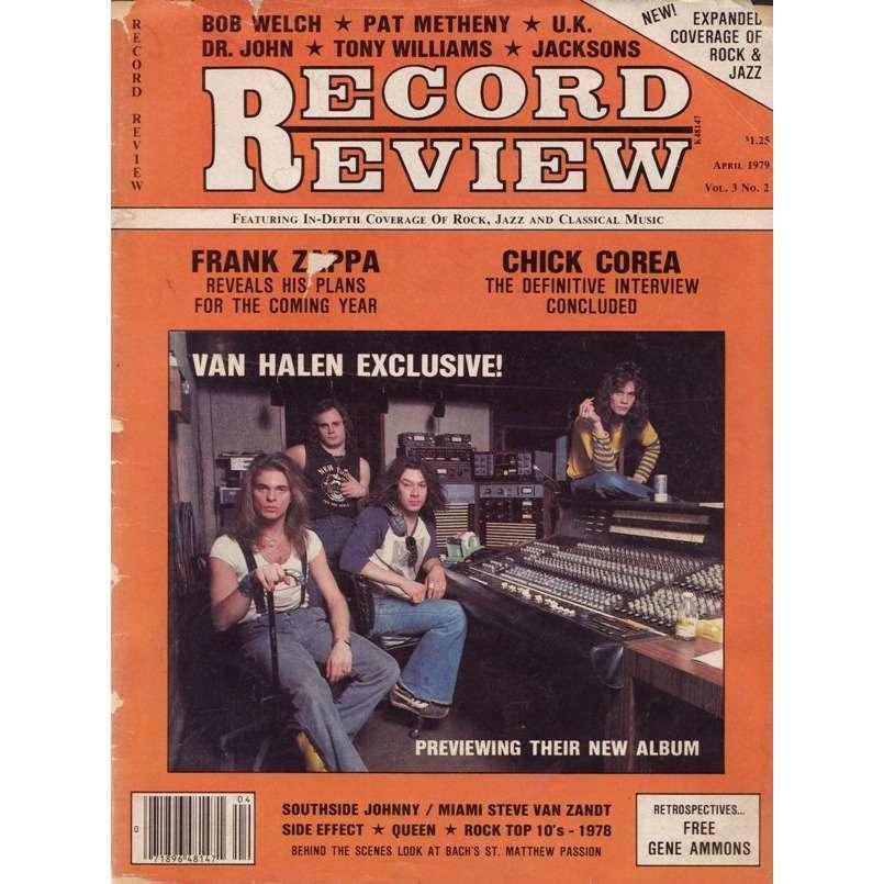 Van Halen Record Review (April 1979) (USA 1979 Van Halen front cover music  magazine!!)