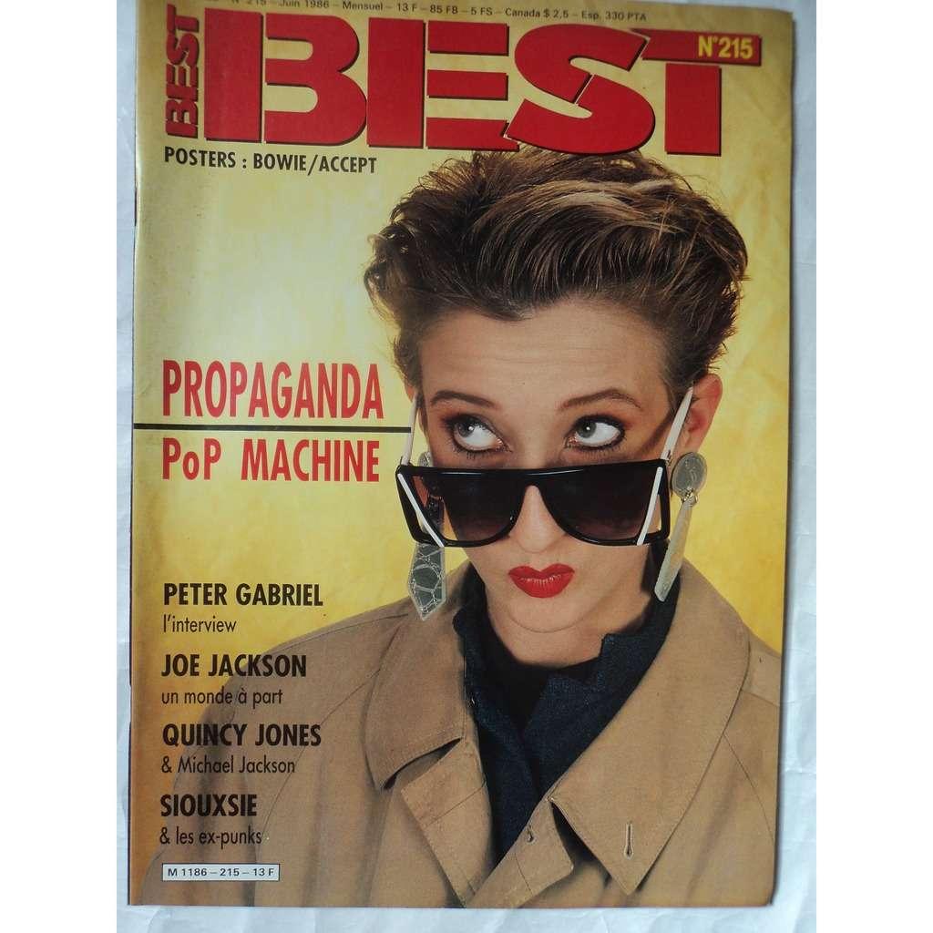 BEST MAGAZINE 215 BEST MAGAZINE 215 poster D BOWIE / ACCEPT toujours agrafé agrafé