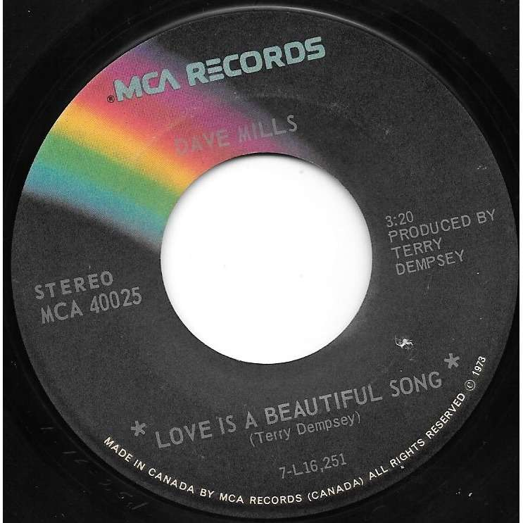 MILLS,DAVE Love Is A Beautiful Song / Make Believe