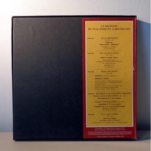JORDI SAVALL & RENE CLEMENCIC & H SALOME La musique en WALLONIE et à BRUXELLES ( BINCHOIS / DE LASSUS / DU MONT / DE CORES / MALDERE )