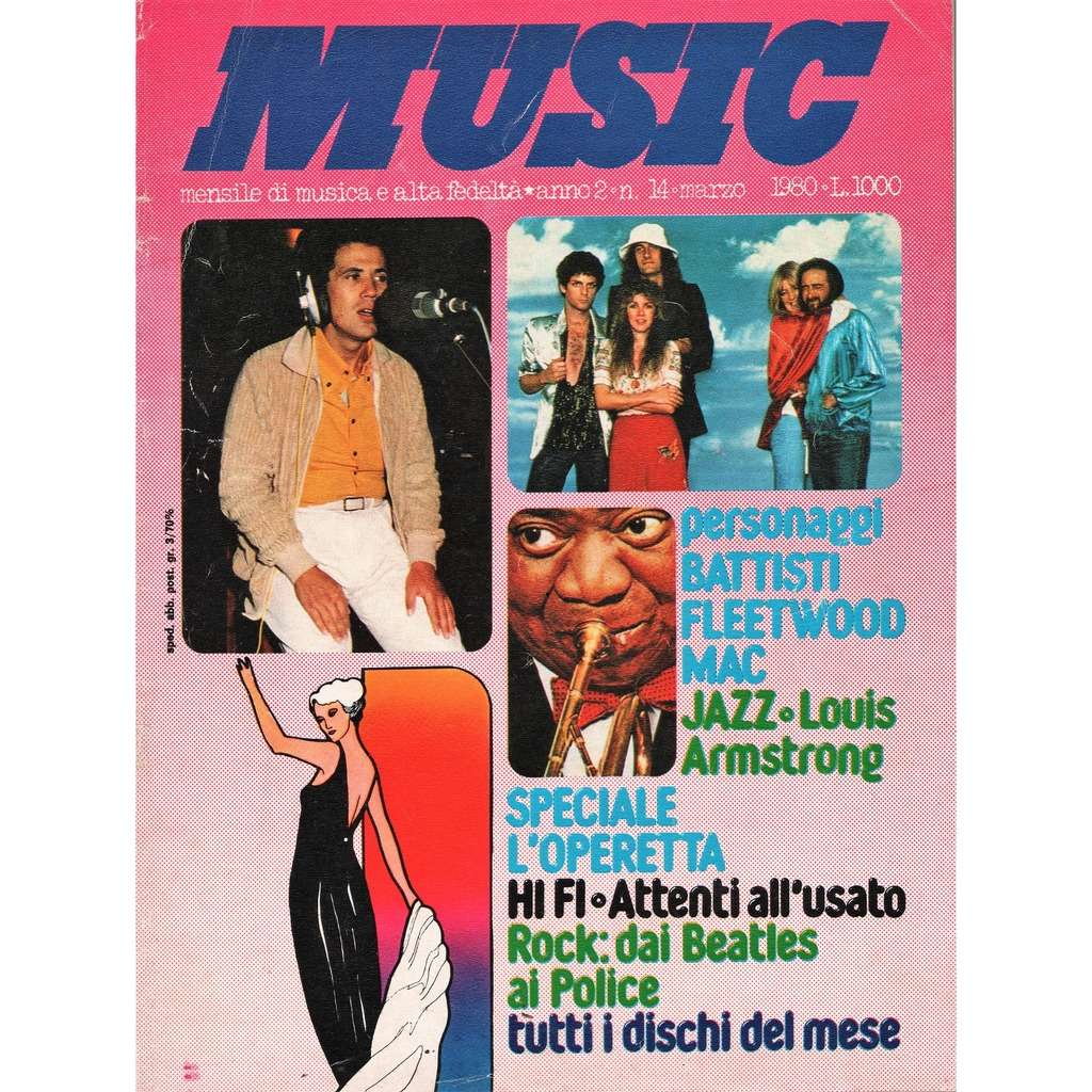 Louis Armstrong Music (N.14 March 1980) (Italian 1980 Louis Armstrong front cover music magazine)