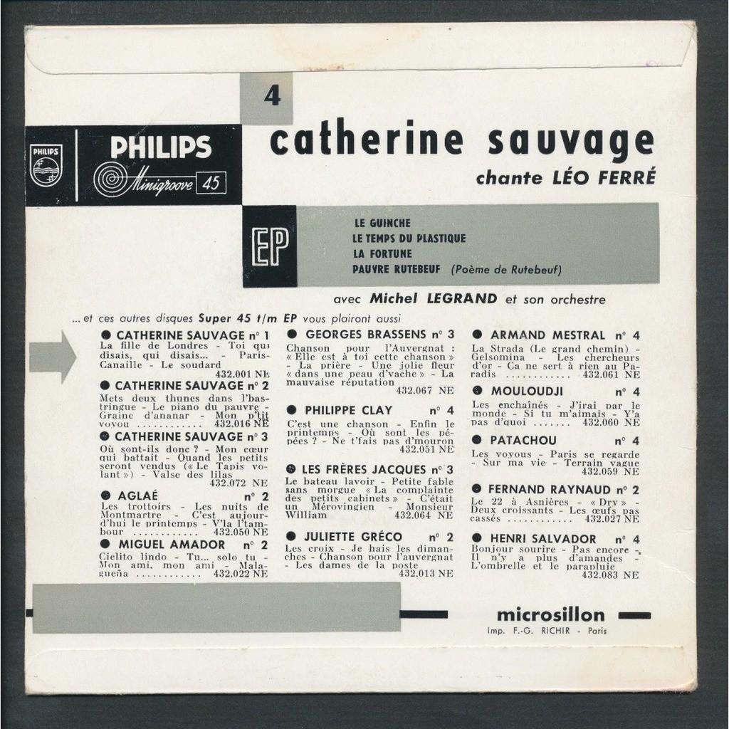 Le Guinche Le Temps Du Plstique La Fortune Pauvre Rutebeuf De Catherine Sauvage Leo Ferre 45 Rpm Ep 4 Títulos Con Neil93