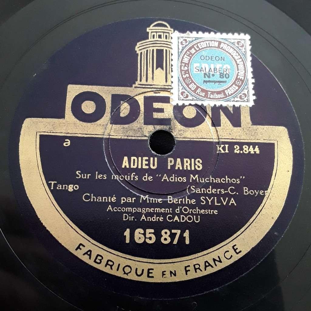 SYLVA BERTHE ADIEU PARIS