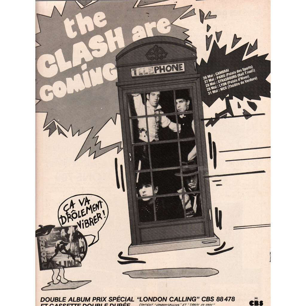 The Clash Freench Tour 1980 (French 1980 promo type advert tourdates poster punk flyer!!)