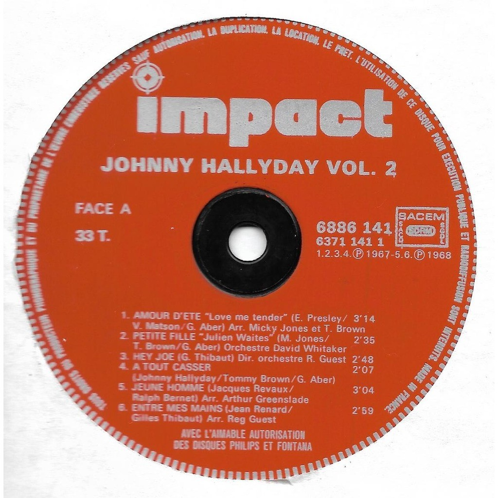 Hallyday Johnny Disque de platine Volume 2