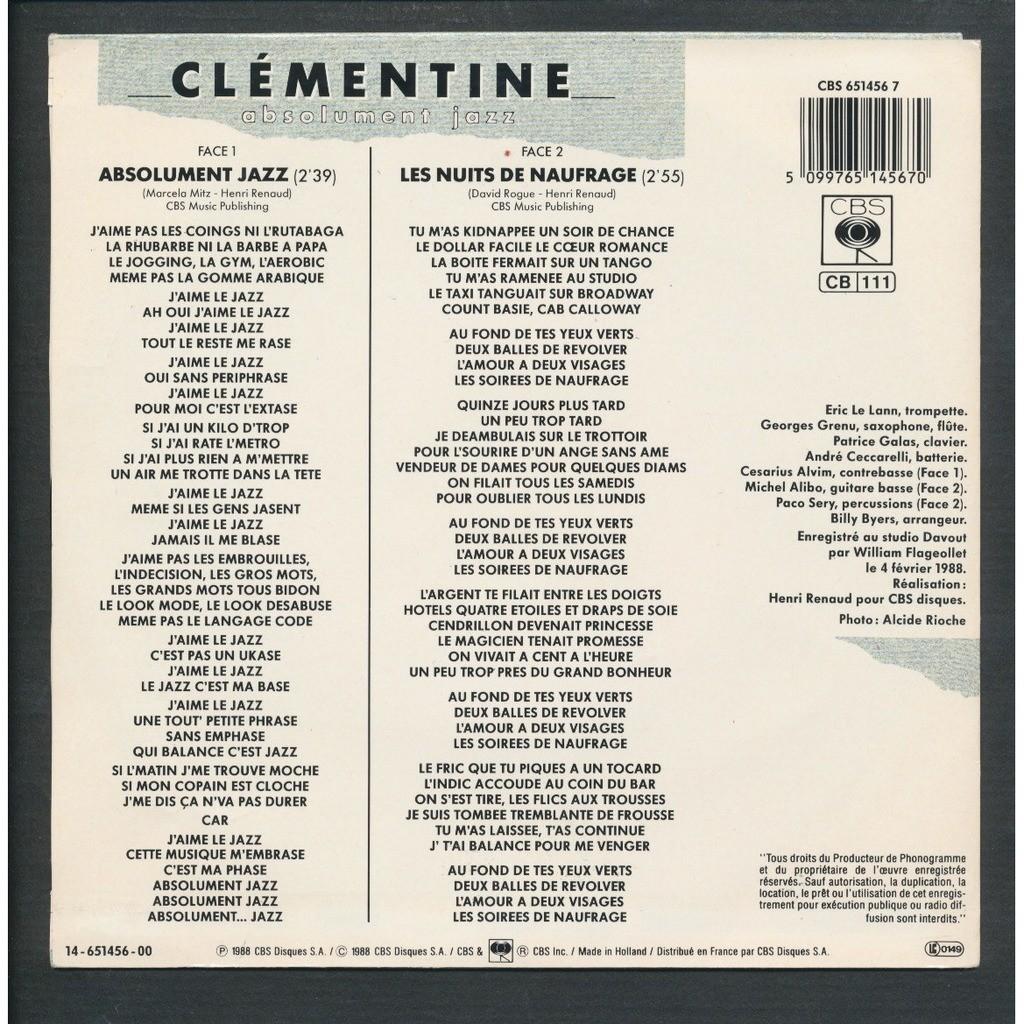 CLEMENTINE - ( HENRI RENAUD ) absolument jazz - les nuits de naufrage