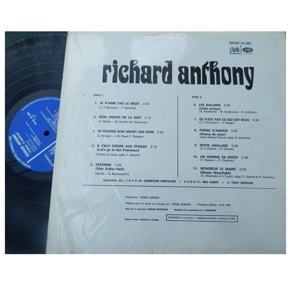 Poeme D Amour De Richard Anthony 33 13 Rpm Con Tibo2559