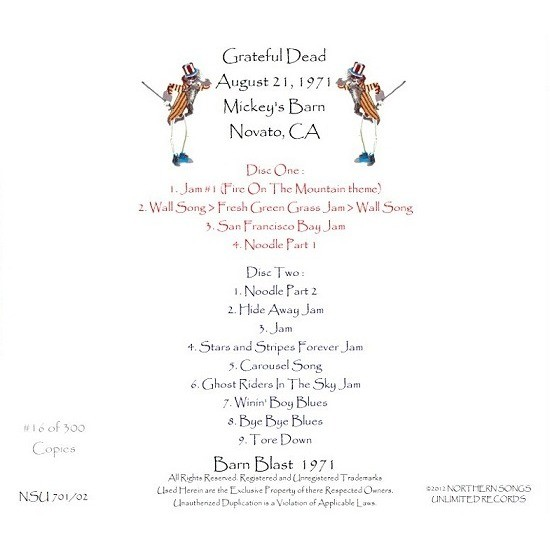 THE GRATEFUL DEAD LIVE MICKEY'S BARN 1971 AUGUST 21ST 2 CD