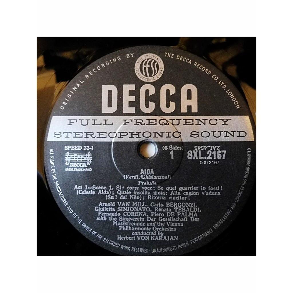 TEBALDI / BERGONZI / MAC NEIL / KARAJAN Verdi : Aïda - ( 3 lp set box stéréo ed1 mint condition )