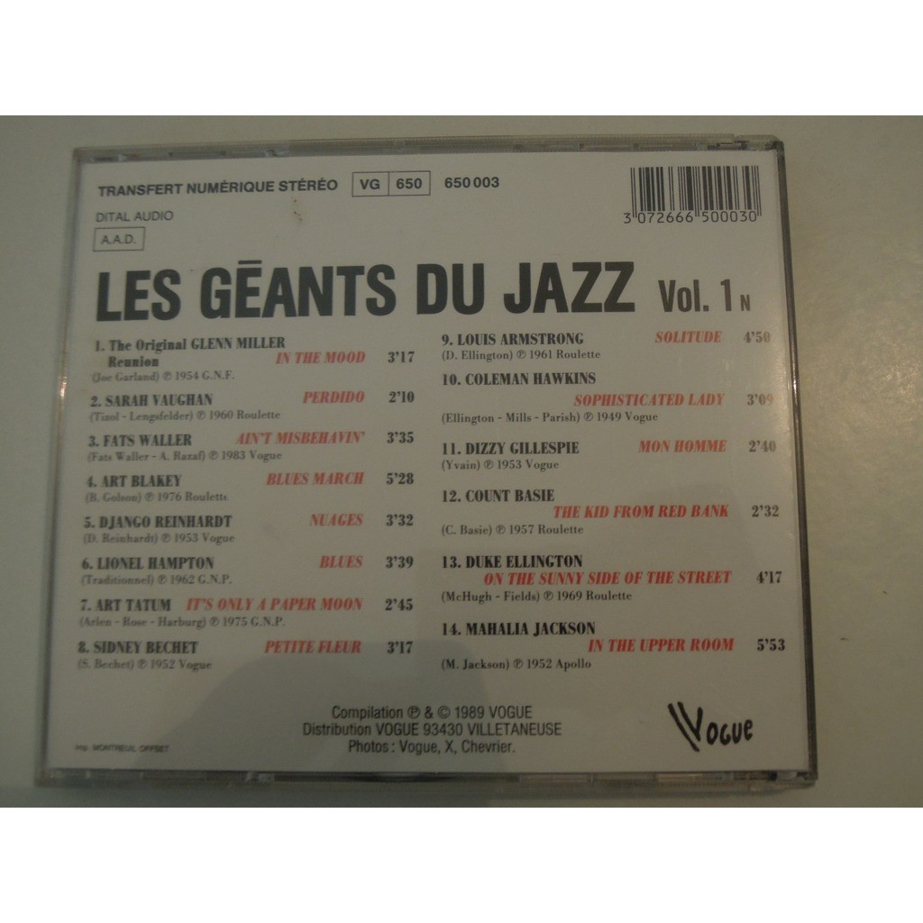 various les géants du jazz volume 1