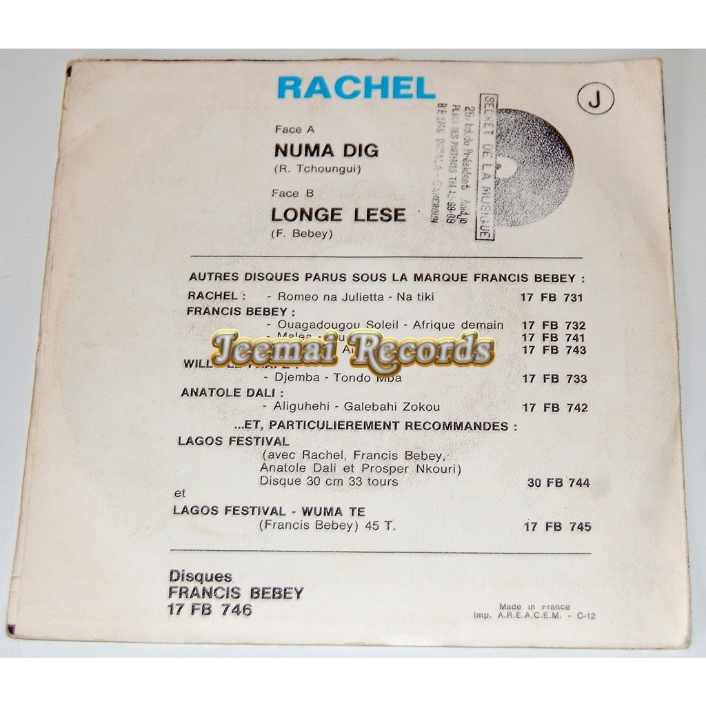 rachel (francis bebey) numa dig / longe lese