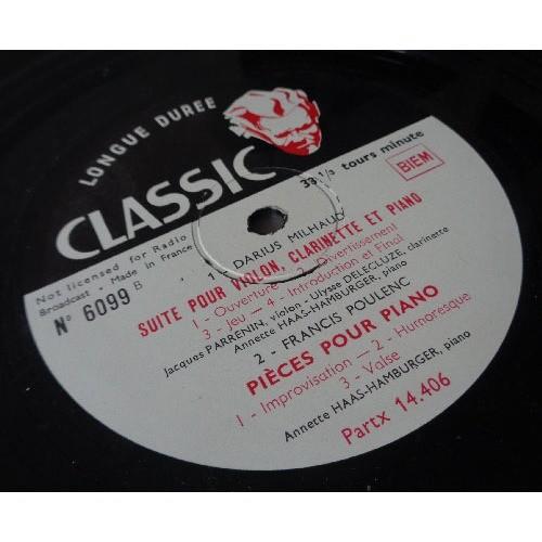 Milhaud suite pour violin , clarinet & piano poulenc piano concerto & piano  pieces by Jacques Parrenin & Annette Haas Hamburger, LP with soulableta