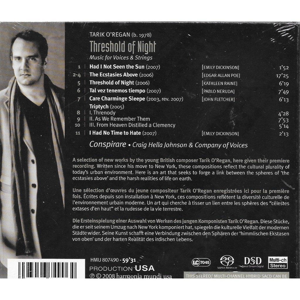 Tarik o'regan Threshold of Night / Conspirare, Company of Voices, Craig Hella Johnson