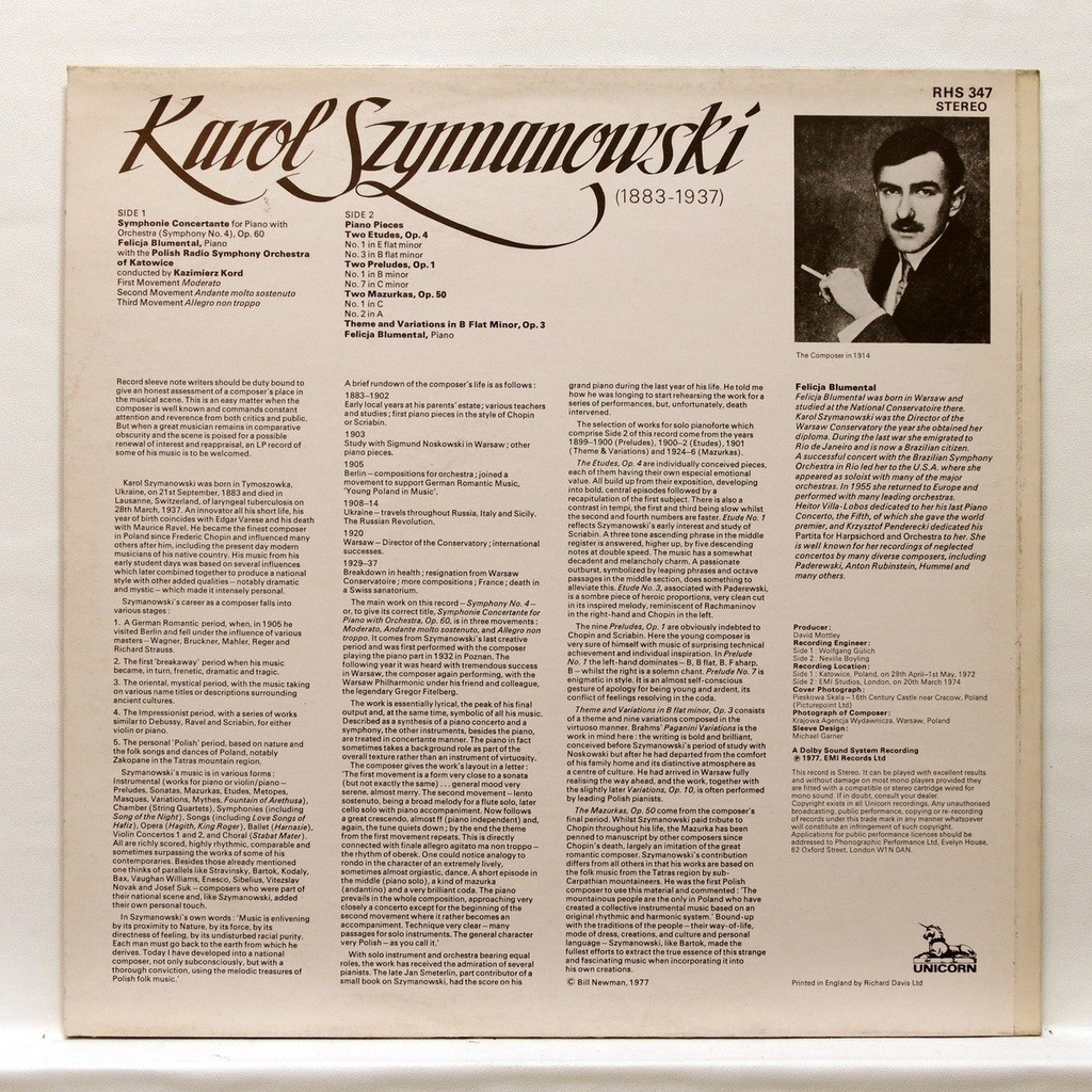 Felicja Blumental Karol Szymanowski : Piano pieces / Two etudes op.4 / Two preludes op.1 / Two mazurkas op.50