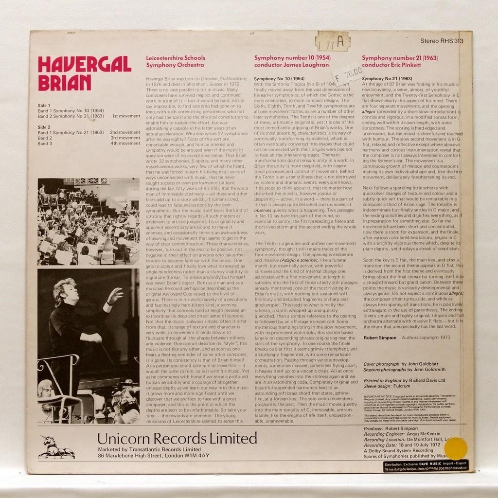 James Loughran & Eric Pinkett Havergal Brian : Symphonies nos.10 & 21