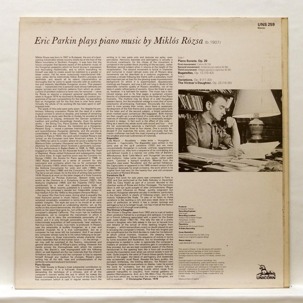 Eric Parkin Miklos Rosza : Piano sonata op.20 / Bagatelles op.12