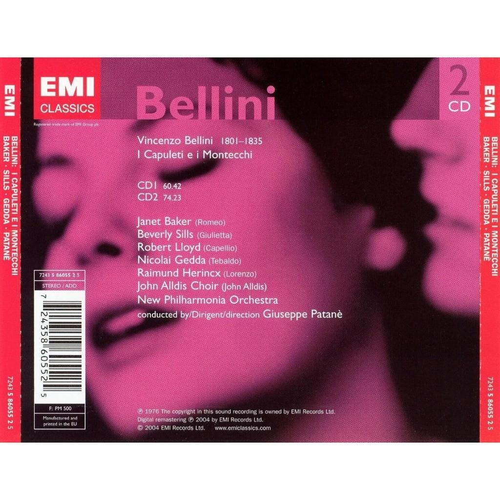 Bellini, Vincenzo I Capuleti e i Montecchi / Nicolai Gedda, Janet Baker, New Philharmonia Orchestra, Giuseppe Patanè