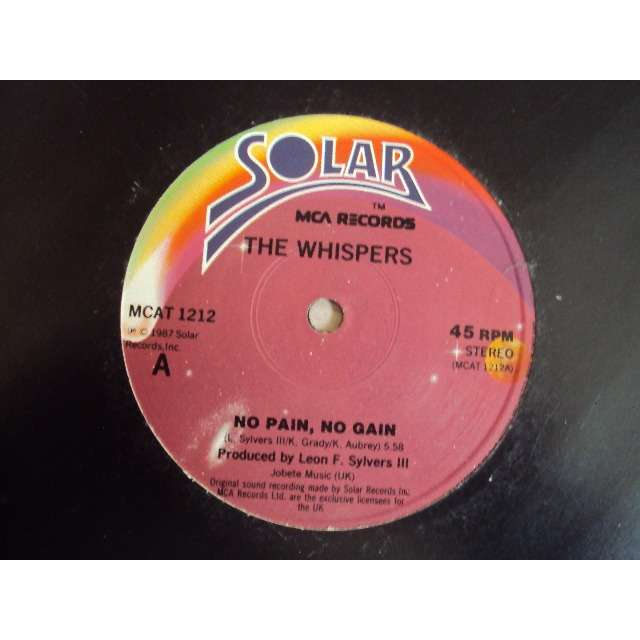 THE WHISPERS NO PAIN, NO GAIN / UPTOWN MIX (Megamix : AND THE BEAT GOES ON / ROCK STEADY...... 1987 UK MAXIBOXLP