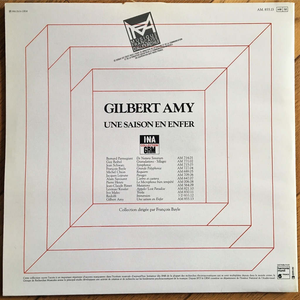 Une Saison En Enfer By Gilbert Amy Lp Gatefold With Labelledoccasion
