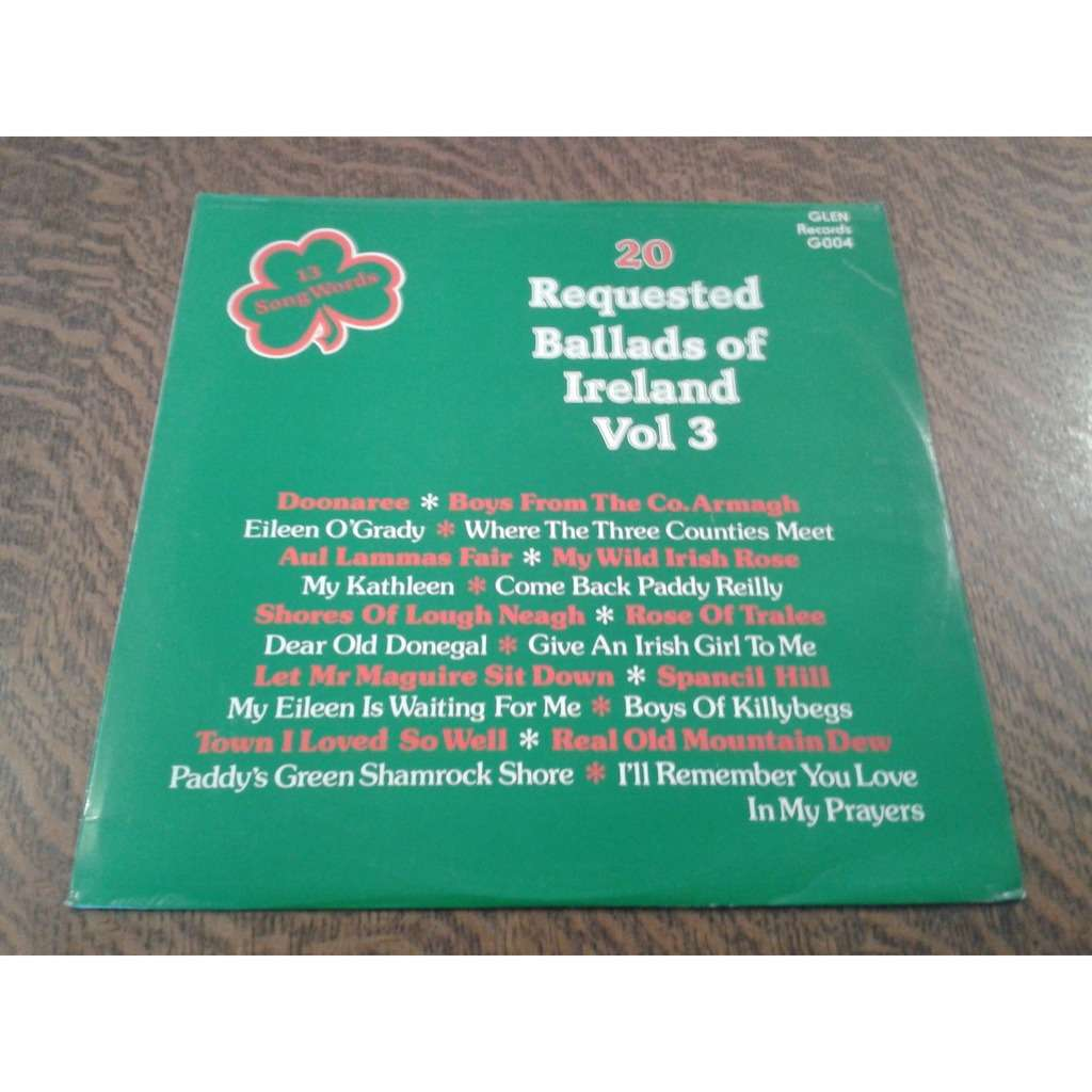 20 requested ballads of ireland vol. 3 do 20 requested ballads of ireland vol. 3 doonaree
