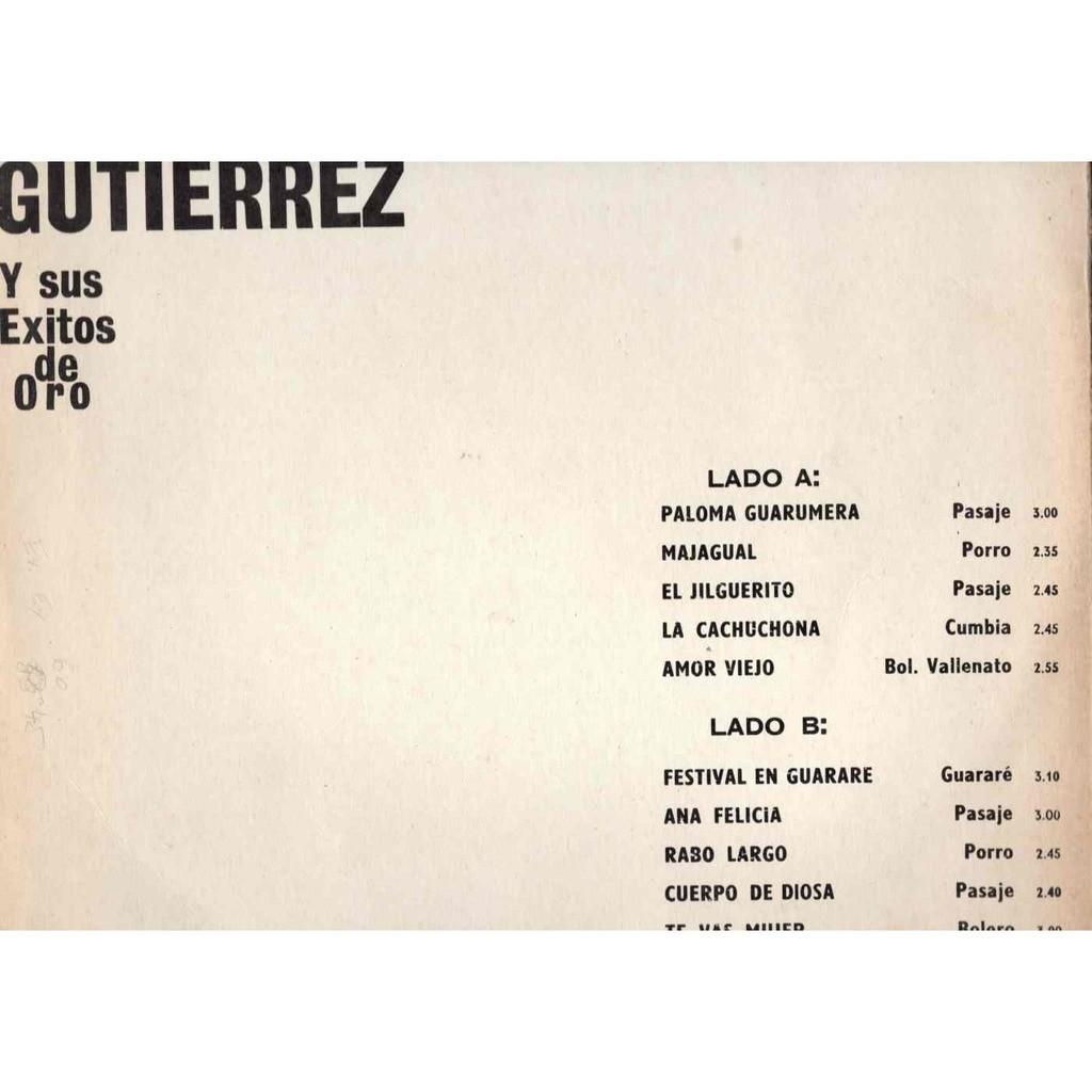 Alfredo Gutierrez Y sus existos de Oro Paloma Guarumera / La cachuchona / Festival en guarare / Tu vas mujer / amor viejo 10 titres