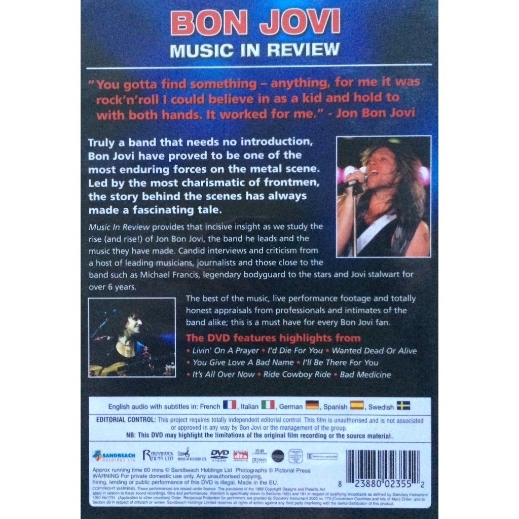 BON JOVI - MUSIC IN REVIEW (SEALED EURO PRESSING 1 DVD)
