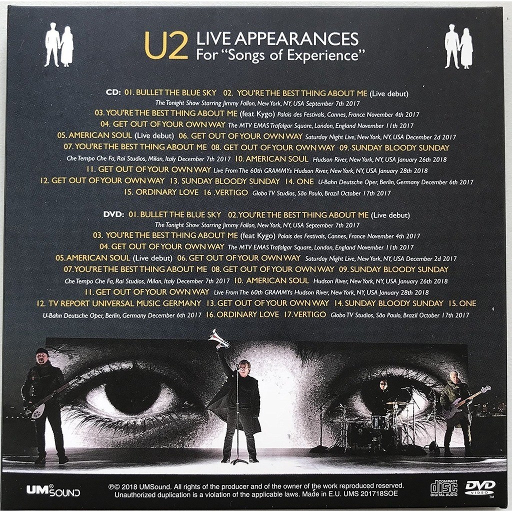 Live appearances for songs of experience rarities live sets recordings  cd+dvd cardbox by U2, CD + DVD with rarecddvd