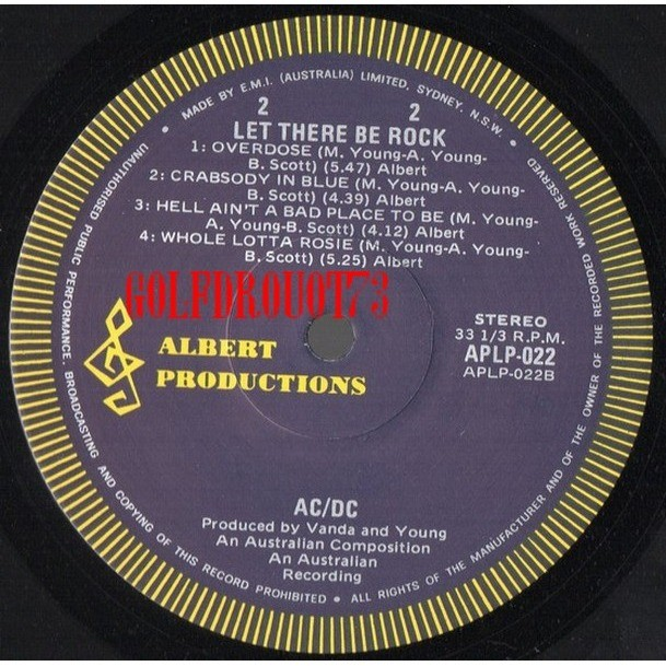 ACDC / AC DC LET THERE BE ROCK .. ( AUSTRALIAN .. FIRST REPRESS. )