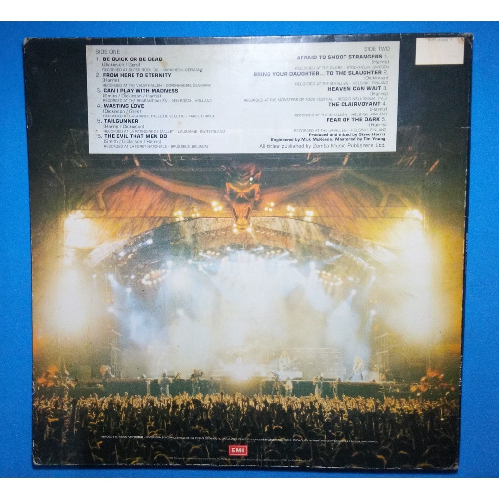 Iron Maiden A Real Live One (Brazil release 1993) Without barcode