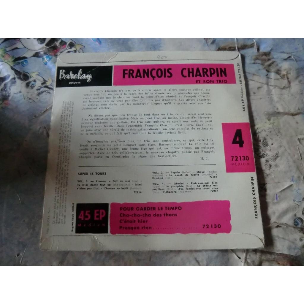 François CHARPIN et Son TRIO Pour garder le Tempo + 3 (original French press - late 1950s)