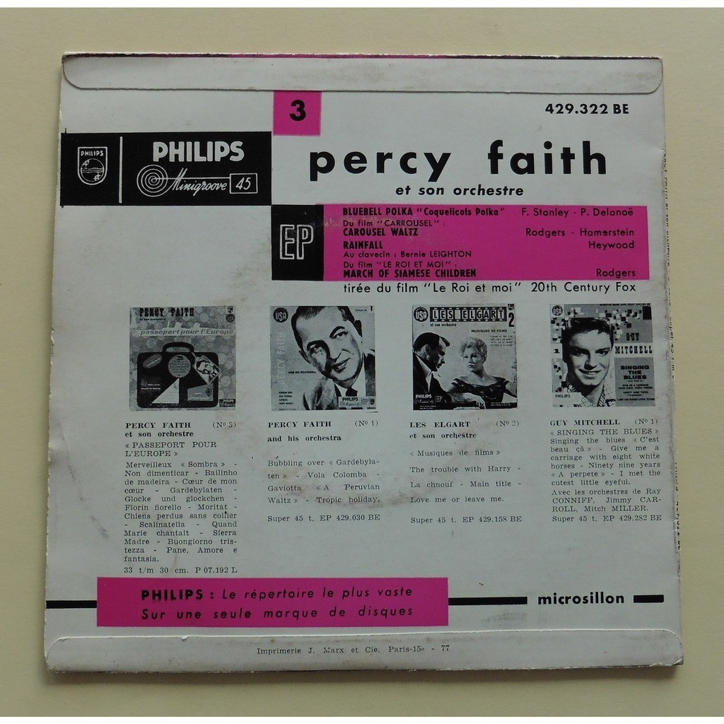 Percy FAITH et Son ORCHESTRE Bluebell Polka + 3 (original French press - 1950s)