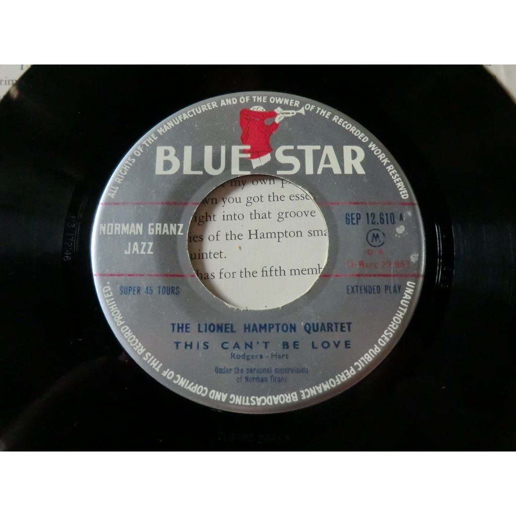 Lionel HAMPTON QUARTET (The) This can't belove (rare original French press - 1955 - carboard cover)