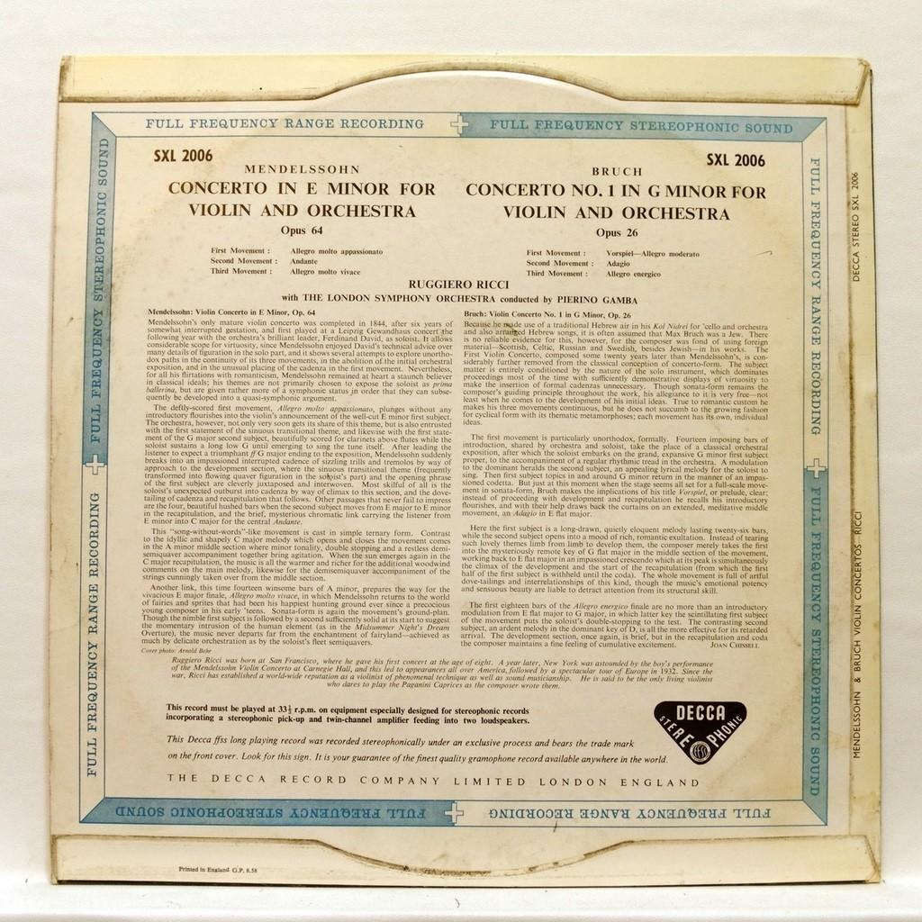 ruggiero ricci Mendelssohn & Bruch : Concertos for violin & orchestra