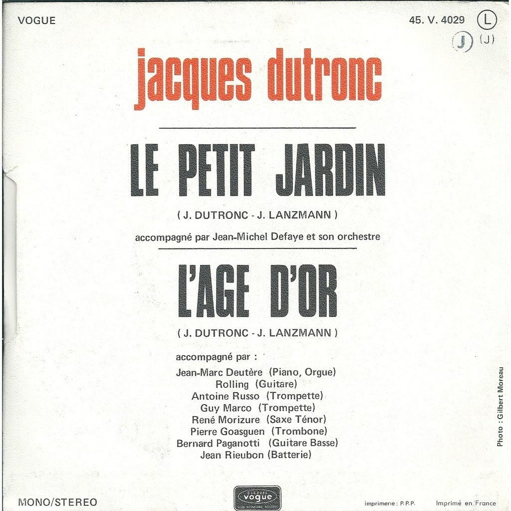 Le petit jardin by Jacques Dutronc, SP with revival - Ref:119168059