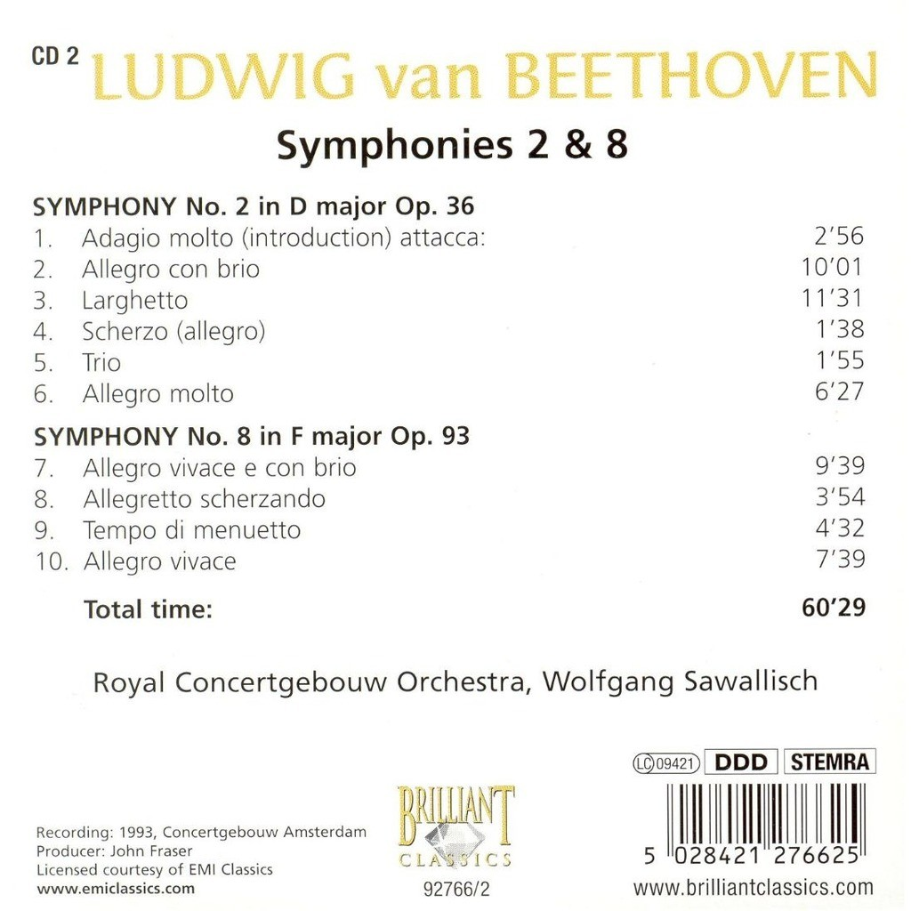 Symphonies 2 & 8 / royal concertgebouw orchestra, wolfgang sawallisch by  Beethoven, Ludwig Van, CD with melomaan