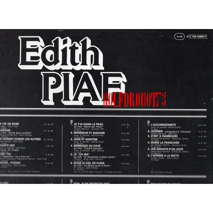 EDITH PIAF EDITH PIAF .. COFFRET 3 LP's .. NON JE NE REGRETTE RIEN .. .. 36 TITRES .. .. VOIR DESCRIPTIF