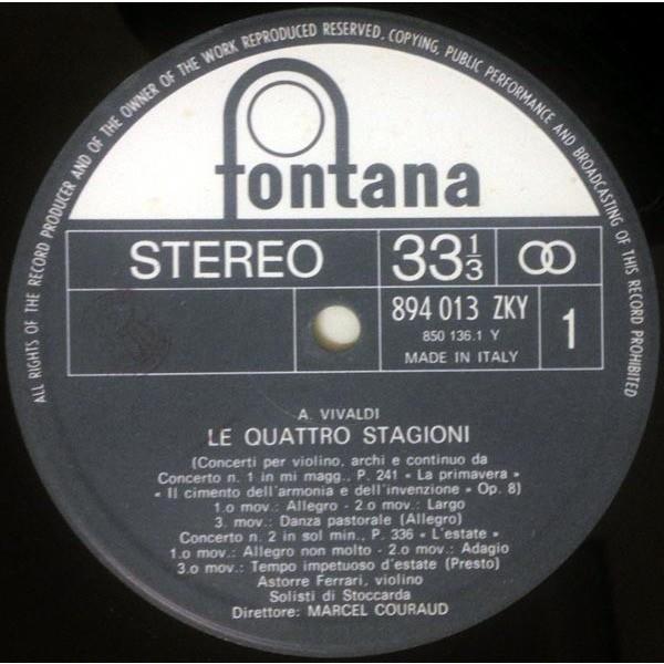 Astorre Ferrari Solisti Di Stoccarda Marcel Courou Vivaldi - Le Quattro Stagioni (Italian 80s ìFontana Argento' 12-trk LP full ps)