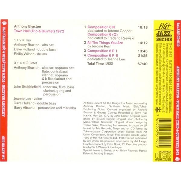 Anthony Braxton Town Hall (Trio & Quintet) 1972