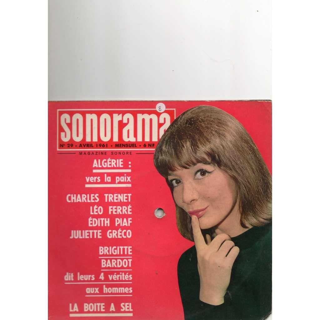 sonorama n° 29, avril 1961 / magazine sonore brigitte bardot / juliette gréco / Eurovision 1961 / léo ferré / edith piaf / charles trenet