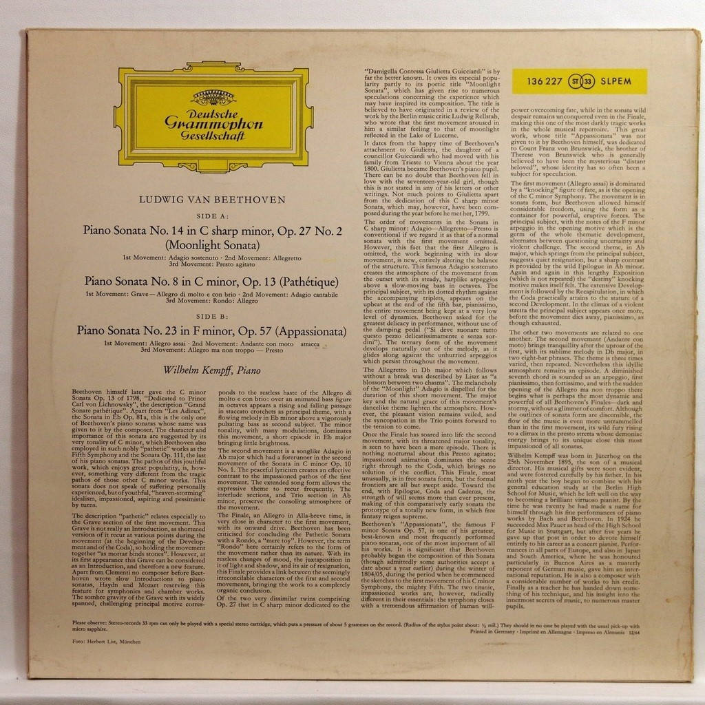 Beethoven : moonlight sonata no 14 op 27 no 2 / pathétique sonata no 8  op 13 by Wilhelm Kempff, LP with elyseeclassic