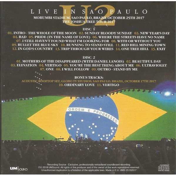 Live in sao paulo 2017 by U2, CD x 2 with sweetrarities