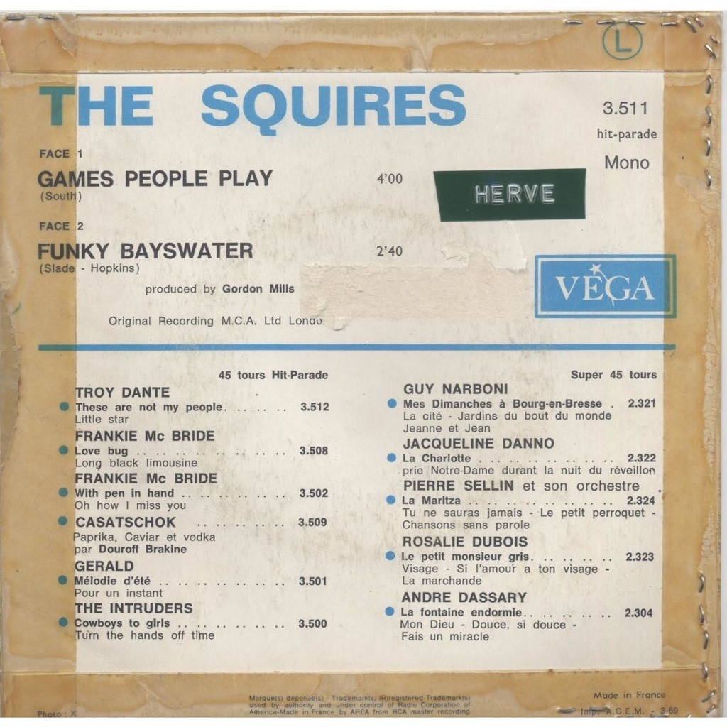 The Squires Games People Play / Funky Bayswater