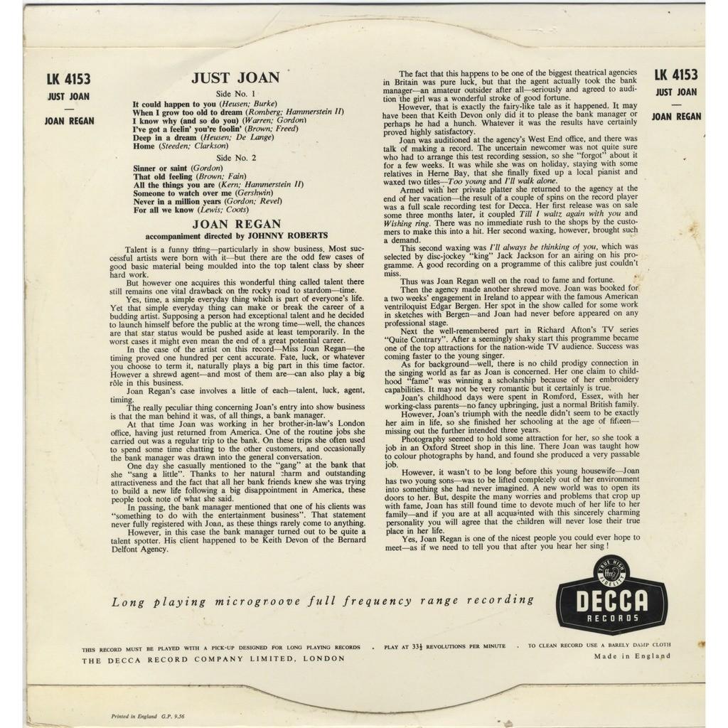 Joan Regan Just Joan Original Decca Mono LP