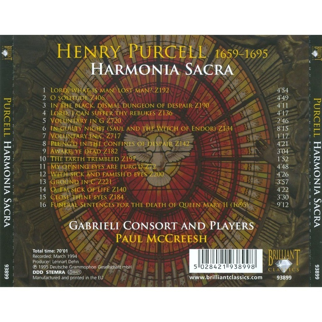 Purcell, Henry Harmonia Sacra / Gabrieli Consort & Players, Paul McCreesh