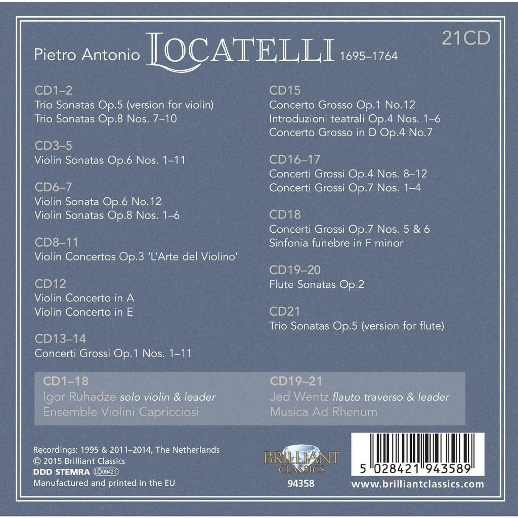 Locatelli, Pietro Antonio Complete Edition / Igor Ruhadze, Ensemble Violini Capricciosi, Musica ad Rhenum, Jed Wentz