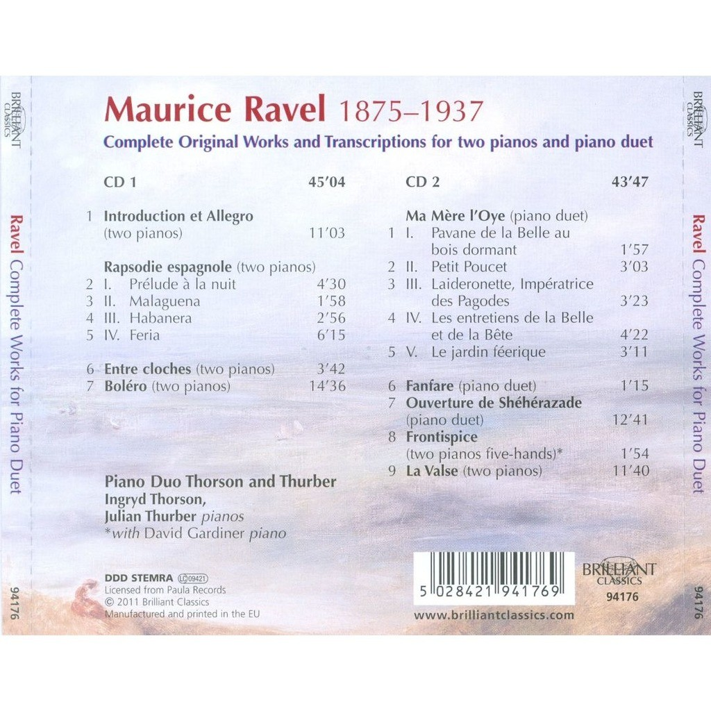 Ravel, Maurice Complete Works for Piano Duet / Ingryd Thorson, Julien Thurber