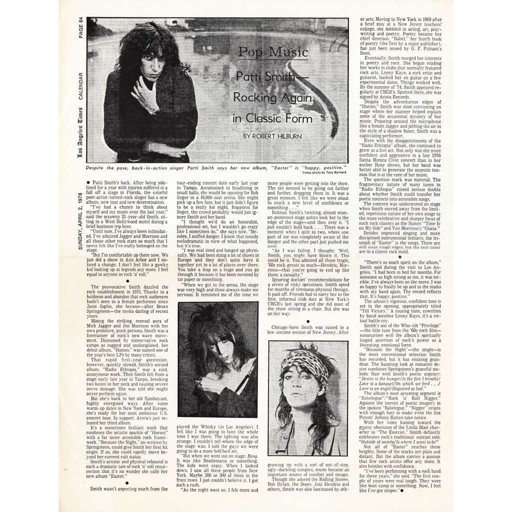 Patti Smith LA Times April 2, 1978 Reprint by Record Label